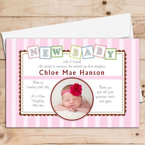 10 Personalised Baby Girl Birth Announcement PHOTO cards N113